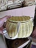 Cesta de mimbre trenzada para mimbre linda cesta de picnic para niños mochila de paja de mimbre multipropósito para niñas niños bolso de hombro de playa de verano-Color amarillo_L23cm L15cm A13cm