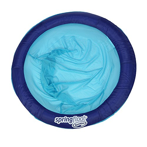SwimWays Spring Float Papasan - Mesh Float for Pool or Lake - Dark Blue Light Blue