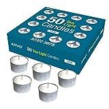 ARVO Bougies Chauffe-Plat, Blanches, Non parfumées, Bougies en Cire à brûler de 6 à 8 Heures, Paquet de 50