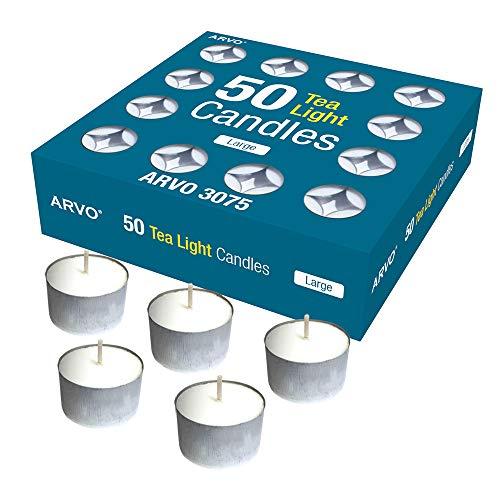 ARVO Candele Tealight Bianco, Unscented, 6-8 Ore Burn Time Wax Candles Confezione da 50 Pezzi