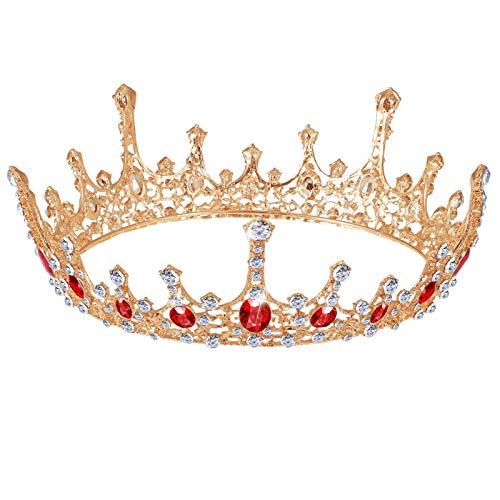 Minkissy Novia Boda Coronas Diamante de Imitación Cristal Barroco Reina Coronas Tiara Vintage Redonda Graduación Cumpleaños Boda Desfile Corona Diadema para Mujeres Niñas