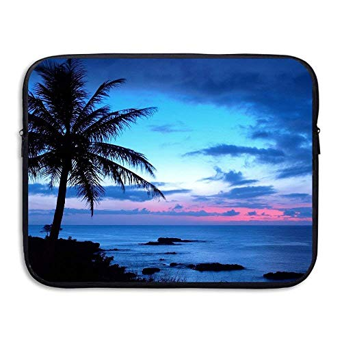 Laptop Case Night Palm Tree Laptop Sleeve Protective Case Water-Resistant Neoprene Briefcase 15 Inch