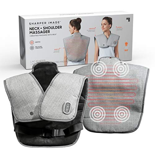 SHARPER IMAGE Heated Neck and Shoulder Massager for Pain Relief Adjustable Heat Level Wrap & Vibrating Massage Spa Therapy Home Remedy Solutions