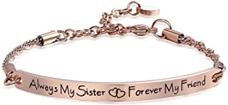 Womens Stainless Steel Bracelet Friendship Jewelry Gifts Engraved Message Always My Sister Forever My Friend