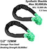 SAMLIGHTING Green Synthetic Soft Shackle Rope 1/2 Inch X 22 Inch (38,000lbs Breaking Strength) Soft Shackle Rope Synthetic for Boating ATV Truck Recovery Trailer (Green 2 Pack)