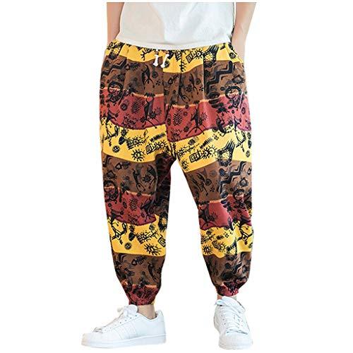 Pantaloni Harem Uomo Larghi Lino,Homebaby Vintage Pantaloni con Tasconi Uomo Stampa Pantaloni da Lavoro Cargo Moda Cotone Sportivo Jogging Sweatpants