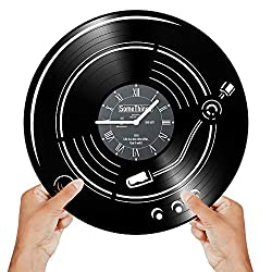 Music Lover Gifts for Music Lovers - Music Vinyl Clock - Music Wall Clock - Music Record Clock Music - Wall Clocks Music - Vinyl Player Decor Music Vinyl Wall Clock Themed Notes Decor Gift Art Black