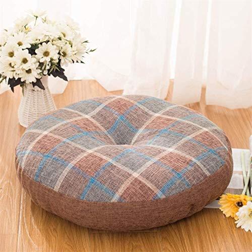 WHZG Cojin Silla Almohadilla de cojín redonda gruesa, almohadillas de asiento de tatami japonesas, almohadas de lino de algodón futón, cojín de soporte lumbar, se adapta a la mayoría de los asientos C