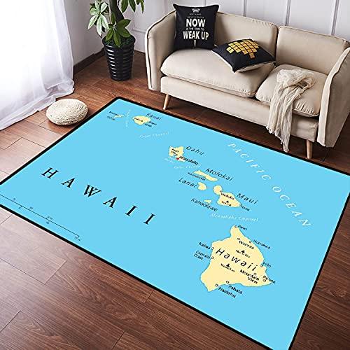 VINISATH Alfombra Salon Granpelo Corto Mapa Las Islas Hawái con la Capital Honolulu,fronteras,Ciudades Importantes y volcanes Antideslizante Alfombras Dormitorio Modernas Sala Habitación Infantil