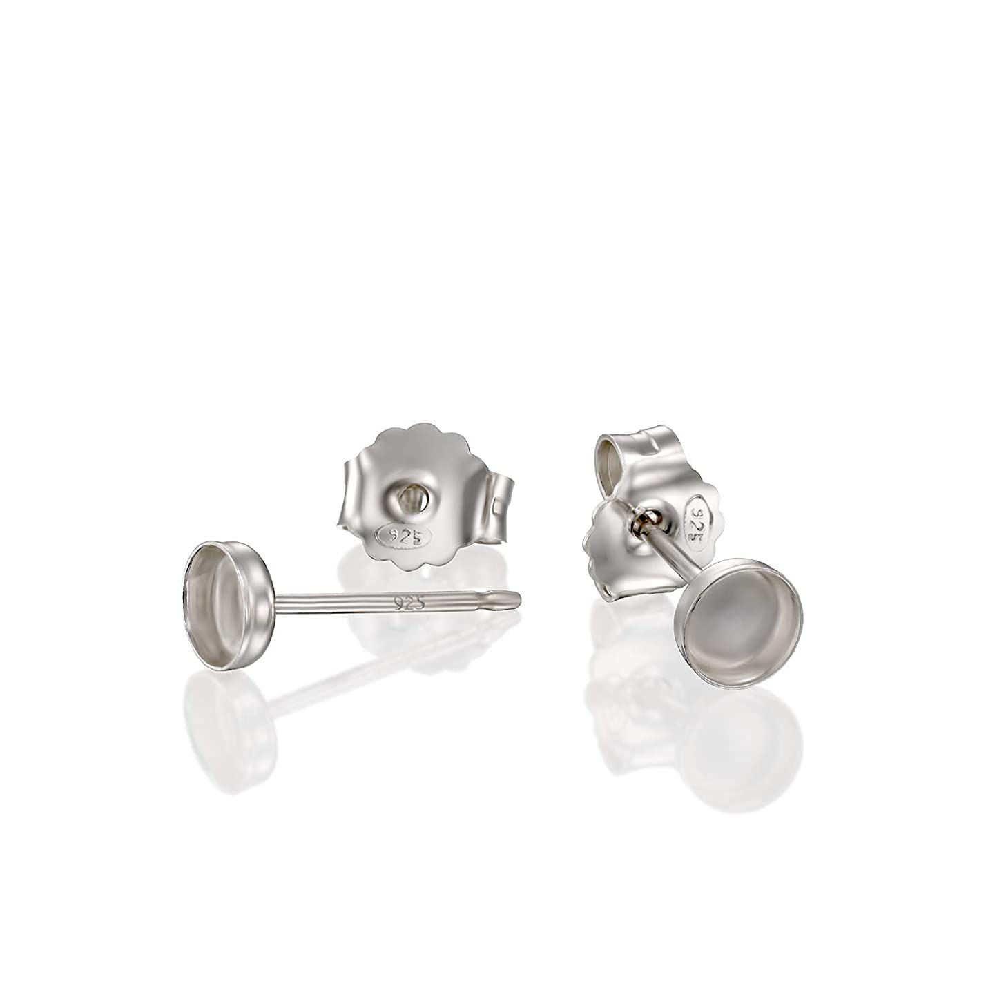 Round Setting 925 Sterling Silver 4 mm Bezel Cups Stud Earrings with Post & Butterfly Backs, 4 Pcs (2 Pairs)