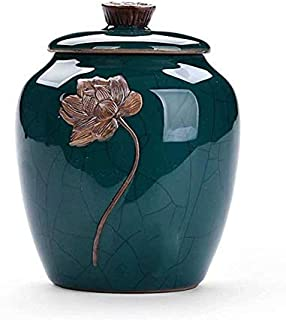Cremation Urn Commemorative Celadon Ceramic Urns Sealed Cans Storage Tanks Teapots (Color : E)