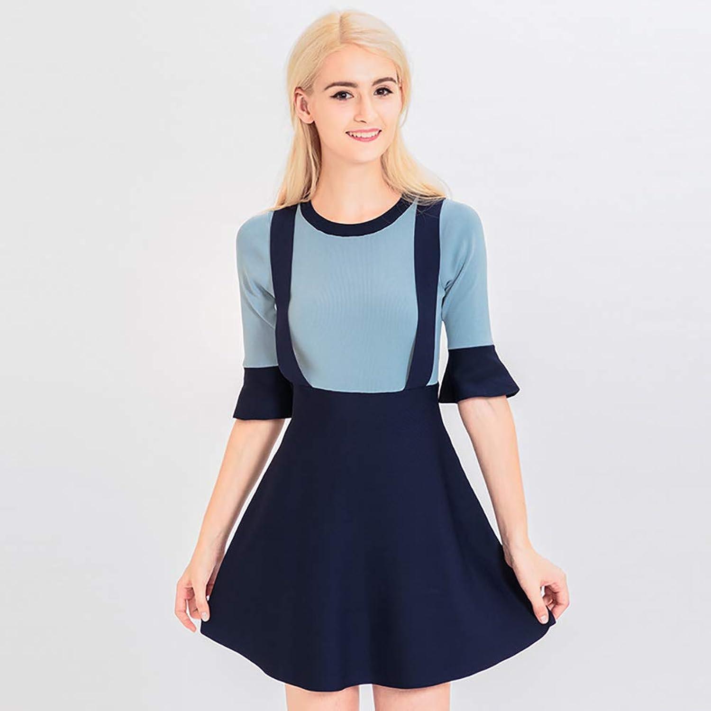Women's Skirt, Autumn Knit Trumpet Sleeve a Word Skirt Women's Strap Fake TwoPiece Dress