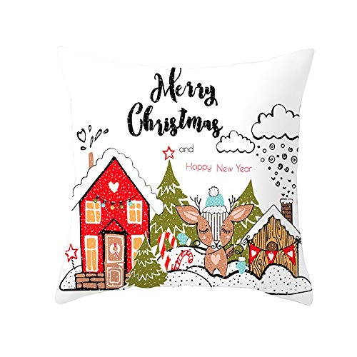 Fundas de Cojines Funda de Cojín Navidad de dibujos animados Cojines Decor Terciopelo Suave Fundas de Almohada Cuadrado para Sofá Sillas Coche Dormitorio Decorativo Hogar M4499 Pillowcase+core,45x45cm