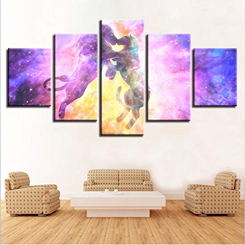 inicio muurschildering HD-decoratie, bedrukt, 5 stuks, leeuw, dieren, kus, kleur abstract, landschap, afbeeldingen, modulaire kunst