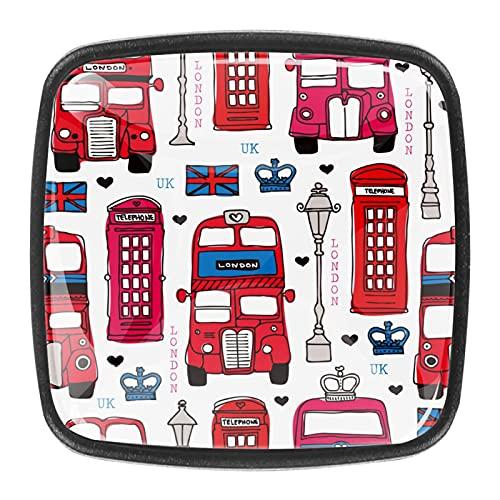 (4 piezas) pomos de cajón para cajones, tiradores de cristal para gabinete, hogar, oficina, armario, Londres, autobús, Reino Unido, 35 mm