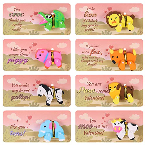 Valentine Cards with 3D Animal Erasers