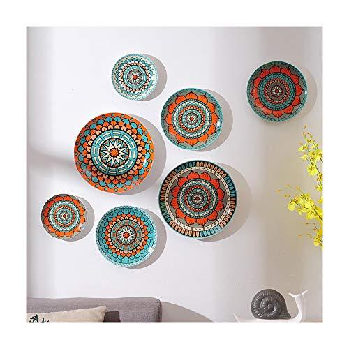 Dunflop Matriz de geometría cerámica Decorada Colgar la Placa de Nordic Placa de cerámica de la Pared de Colgante Plato Restaurante Sala Decoración