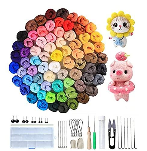 JasCherry Kit de Fieltro de Lana, 72 Colores de Lana para Fieltrar, Kit de Inicio de Fieltro de Aguja, Fieltro para Manualidades Hilado a Mano para Principiantes (3 g/Colore)