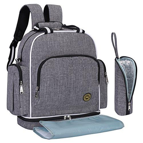 S-ZONE Baby-Wickeltasche, groß und wasserdicht, als Rucksack oder als Schultertasche zu tragen, mit Buggy-Clips zur Befestigung am Buggy, einer Wickelunterlage und einem isolierenden Thermofach.