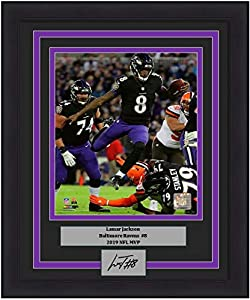 "Lamar Jackson in Action Baltimore Ravens 8"" x 10"" Framed Football Photo with Engraved Autograph"