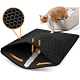 "Polarduck Cat Litter Mat, 20"" X 16"", Cat Litter Trapping Mat, Honeycomb Double Layer Design, Urine and Water Proof Material, Scatter Control, Special Side Handles Design Easier to Clean,Washable"