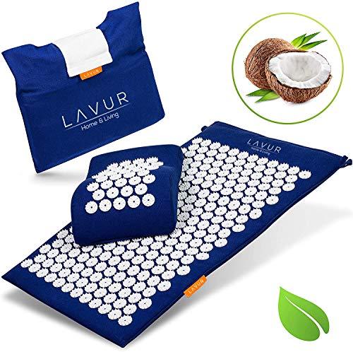 LAVUR Premium Akupressurmatte - Inklusive E-Book mit Anleitung und Anti Stress Guide - Umweltfreundliche Massagematte gefüllt mit Kokosfasern - Mit Gratis Transporttasche
