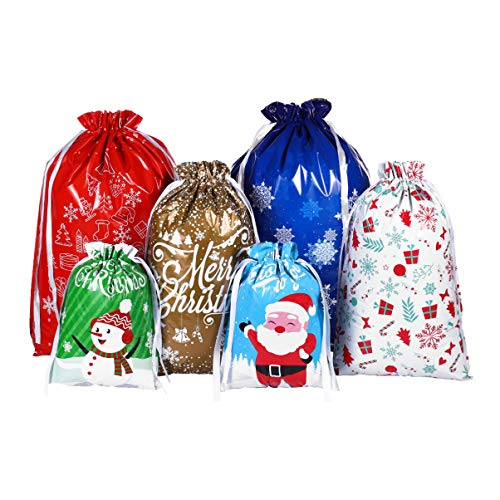 Cabilock Christmas Drawstring Bags 30PCS Large Size Christmas Wrapping Gift Bags Assorted Styles Christmas Goody Bags for Christmas Party Xmas Holiday