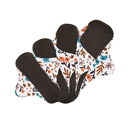 HXLFYM 8 Unids 4 Tamaño Almohadilla Menstrual Lavable, Pista De Tela De Bambú Reutilizable Higiene Menstrual Panty Pad Mamá Toalla Sanitaria Almohadilla Toallas Sanitarias Grandes Reutilizables