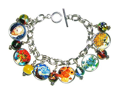 VAN GOGH Charm BRACELET outlet Altered Direct stock discount NIGHT Sunflowers Art STARRY RED