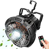 Portable Camping Fan with Remote, Rechargeable Tent Fans with LED Light-3 Speed/3 Brightness/Hanging Hook/Timer, Quiet Battery Operated Fan for Camping/Trip/Tent/BBQ, Hurricane & Blackouts Emergency