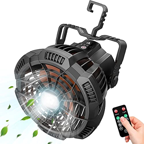 Portable Camping Fan with Remote, Rechargeable Tent Fans with LED Light-3 Speed/3 Brightness/Hanging Hook/Timer, Quiet Battery Operated Fan for...