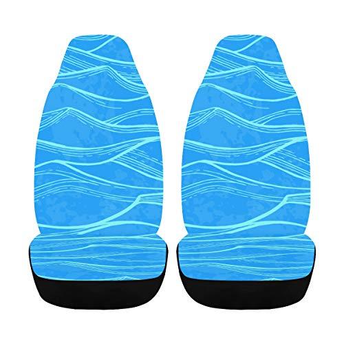 Funda para silla de coche Blue Sea Waves Verano Acuarela Fundas de asiento de coche para bebé para niñas 2 piezas Airbag de ajuste universal Compatible para para coche Suv Fundas de asiento de