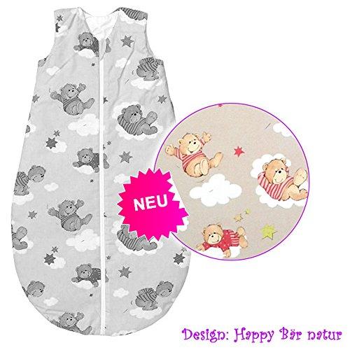 Odenwälder BabyNice Vierjahreszeiten wattierter Schlafsack 110 cm Bär Natur - Basic-Schlafsäcke zum Knallerpreis!