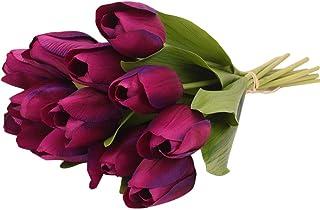 Farantasy造花ファッション美しい現実的な12PCS チューリップ人工花ラテックス本物のブライダル結婚式のブーケホームデコレーションホーム結婚式の装飾人工花