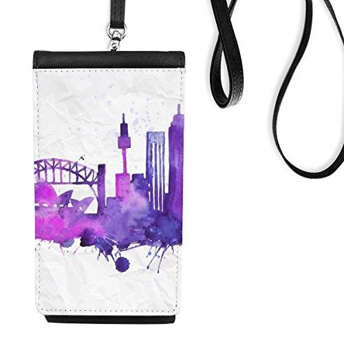 DIYthinker Australië Flavor City Landmark Sydney Opera House en Sydney Harbour Bridge aquarel kunstleer Smartphone opknoping portemonnee telefoon