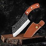 Cuchillo Cuchillo de la carne de vaca cocinero cuchillo de la cuchilla alto contenido de carbono de acero inoxidable cuchillo agudos de cocina filetear Cuchillo de la manga del cuero mejor regalo coci