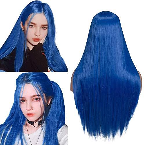 YMHPRIDE Mode lange blaue gerade Perücke für Frauen natürlich aussehende synthetische Mittelteil Haarperücke hitzebeständige Faser 24 Zoll mit Perückenkappe