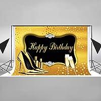 EARVO 7x5フィート ダイヤモンド背景 エレガントなハイヒール シャンパン写真背景 誕生日パーティー コットン背景 (しわ防止) スタジオ写真小道具 HXEA089