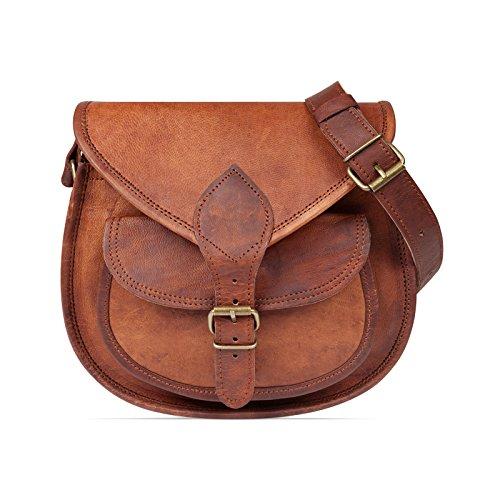 Nama 'Felicia' Handtasche Echtes Leder Vintage Umhängetasche für Damen Retro Design Ledertasche Schultertasche Naturleder Braun