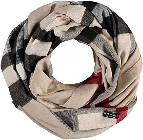 FRAAS Damen Loop-Schal kariert aus Cashmink - Made in Germany - wärmender Rund-Schal - Schlauch-Schal weicher als Kaschmir - perfekt für die Übergangszeit Beige