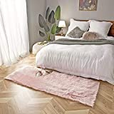 Ashler Soft Faux Sheepskin Fur Chair Couch Cover Area Rug for Bedroom Floor Sofa Living Room Pink Rectangle 2.2 x 6 Feet