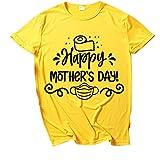 YANFANG Camisa de Manga Corta con Cuello Redondo y Estampado Feliz del día de la Madre de la Moda para Mujer,Ropa de Salón para Damas Ropa Informal de Primavera y Verano,, XXL,Yellow
