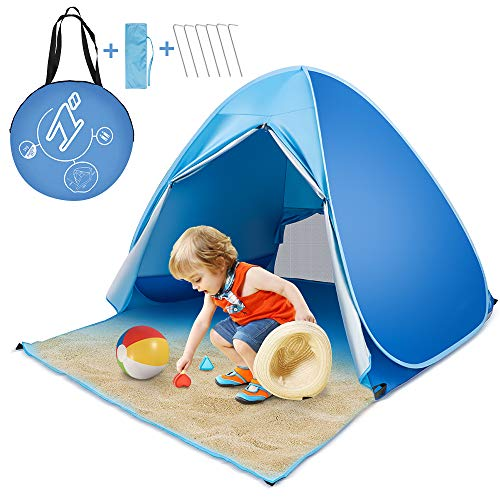 Baby Beach Tent, MANP Pop Up Beach Tent UPF 50+ Protection Pop Up Beach Shade Sun Shelter, Portable Kids Beach Tent Waterproof with Carry Bag for 2-3 Person, Family Camping, Park Tent