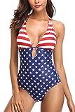 Sociala American Flag One Piece Swimsuit Women July 4th Bathing...