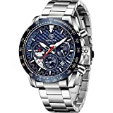 BENYAR Men Watch Fashion Chronograph Analog Quartz 30M Waterproof Business Casual Sport Mesh Band Wrist Watch Clock Timepiece Gifts for Father,Son,Friend (BY5175S Silver Blue)