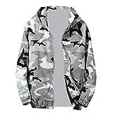 Amiley mens hoodies,Men's Fashion Camo Sport Hoodie Tops Full Zip Hooded Sweatshirt Outwear Jacket Coat (Large, Gray)
