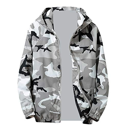 Mantel Herren Camouflage, Holeider Hoodie Jacke Windbreaker Reissverschluss Winter Outwear Pullover mit Kapuzen, Männer Übergangsjacke Sweatshirt
