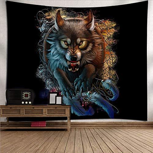 Tapiz De Pared Estético Oscuro,Tapices De Lobo Animal Feroz,Tapices Para Colgar En La Pared,Tapiz Bohemio Trippy,Mural Para Dormitorio,Sala De Estar,40' x 30' (100×75 cm)