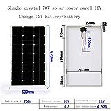 ZSPSHOP Panel Solar De Silicio Monocristalino 20W ~ 80W Tablero De Carga De Generación De Energía Fotovoltaica Doméstica Panel Solar De 12V,70W