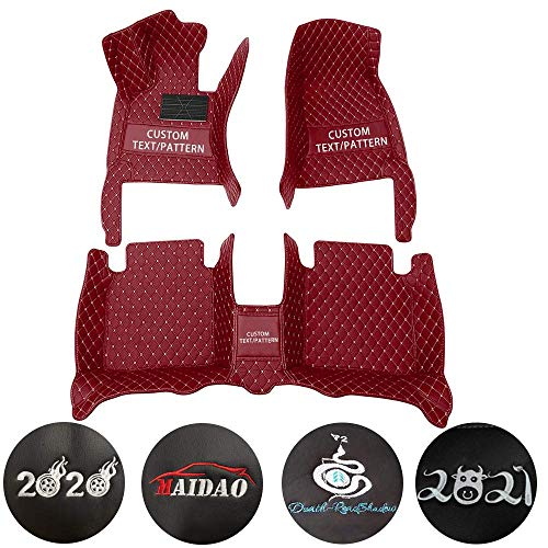 Custom Car Floor Mats for Renault Captur 2014-2017 The Front end of The Front armrest Box is Curved Can Be Customized for 99% of Car Models Waterproof Non-Slip Leather Liner Set Wine Red